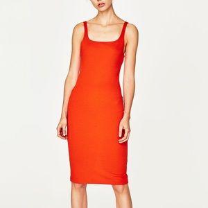 Zara orange strappy dress