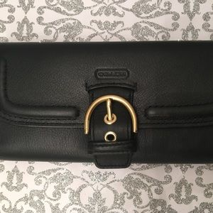New All Black Leather Coach Wallet