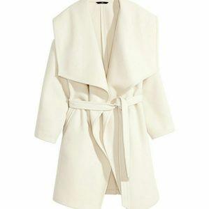 Wide collar fleece coat