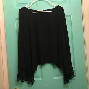 LUSH Crochet Sleeve Open back top