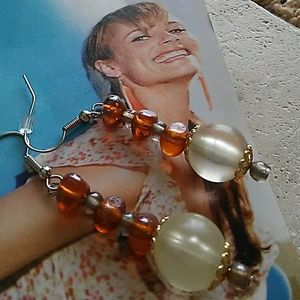 Jewelry - Earring Moonstone, Amber Gemstones.14k capped