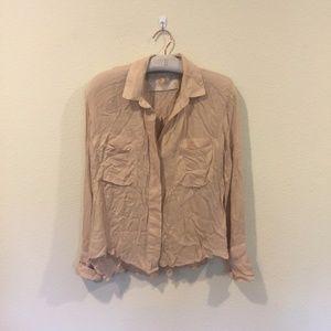Bella Dahl button down tan shirt