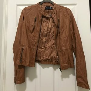 Brand new Forever 21 brown moto leather jacket