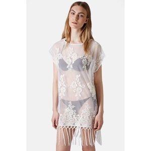 Topshop Sheer Floral & Fringe Dress