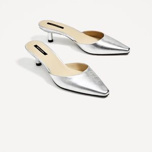 Zara silver toned leather mules