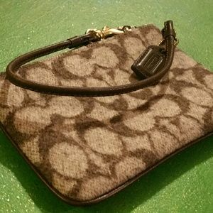 COACH signature monogrammed WOOL wristlet