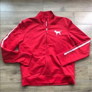 Pink Victoria's Secret full zip up jacket red