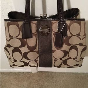 Authentic Coach Large Handbag choco brown/ khaki.