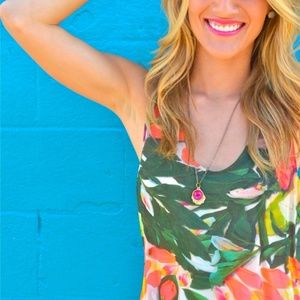 Nicole Miller floral green tank blouse