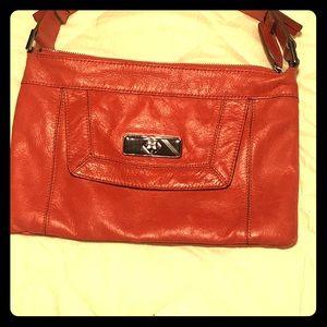 Dark Red/orange Leather BCBG Clutch