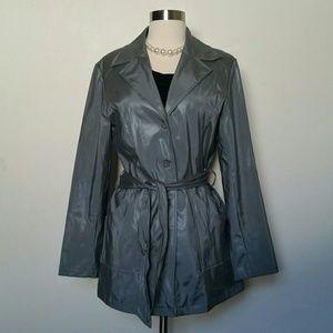 Pleather coat with belt