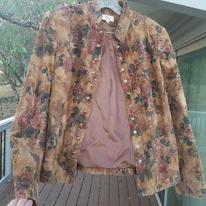 Vintage VS2 floral suede leather jacket!