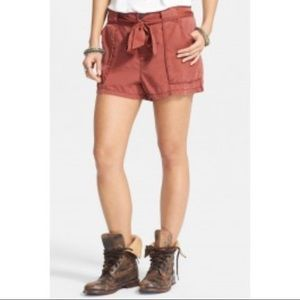 Free people mars red drippy cargo shorts
