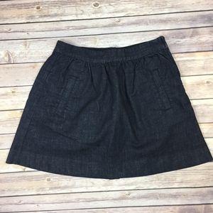 J. Crew Dark Wash Denim Mini A-Line Skirt