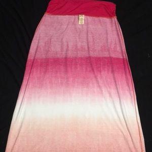 Pink-White-Peach Ombré Maxi Skirt