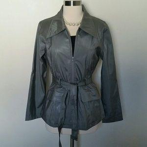 Pleather zip up coat with belt