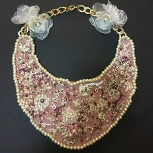 Beautiful handmade beaded necklace pink crystal