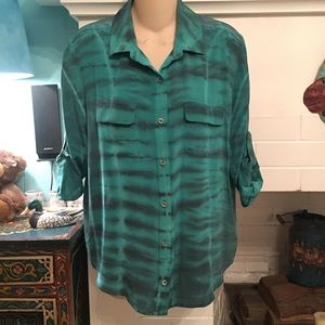 NWT GYPSY 05 100% SILK TURQUOISE TIE DYE BLOUSE XS