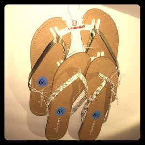 Unionbay 2 pairs of Gold strapped flip flops NWT