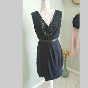 Black sleeveless v-neck draped dress