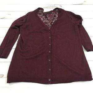 Purple 3/4 sleeve lace cardigan