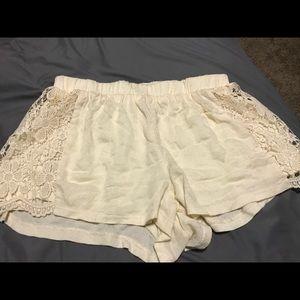 Cream-Colored Lace Shorts