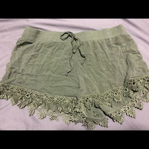 Olive-Drab Lacey Shorts