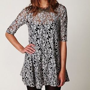 Free People miles of lace gray black mini dress S