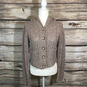 Free People wool blend sweater hooded light brown