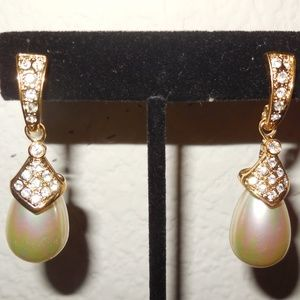 Faux Tear Drop Pearl Gold Plate CZ Crystals Dangle