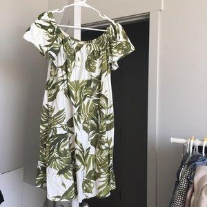 Palm Leave Print Off Shoulder Dress