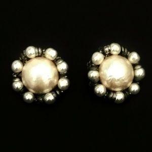 Vintage Large Pearl Cluster Earrings