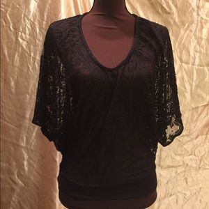 Butterfly sleeve sheer lace blouse