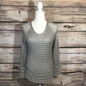 Lucky brand knit gray sweater waffle long sleeve S