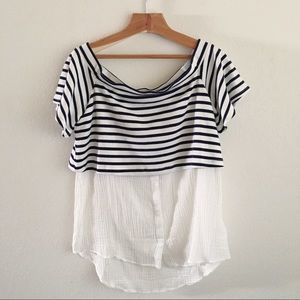 0ce4b8658b42ea Anthropologie Tops | Postmark Layered Offtheshoulder Striped Tunic ...