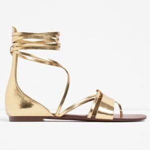 Zara flat lace-up sandals