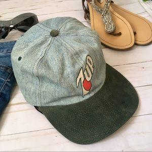 Vintage 7•Up denim & suede baseball cap