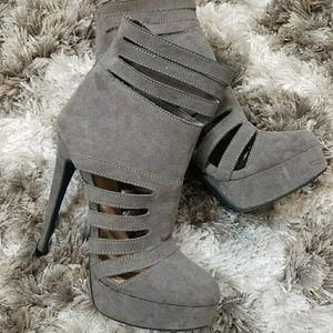 Grey sexy stilettos booties