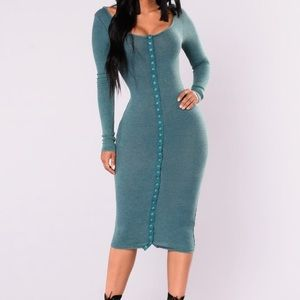 Fashion nova long sleeve ribbed button up dress