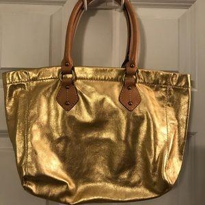 J Crew Gold Leather Shoulder Bag