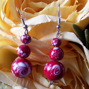 Red Passion Swirl Earrings