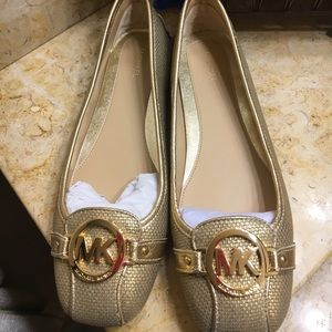 M.K Fulton Metallic Canvas, Leather Moccasin