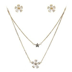 Duplexes mini flowers crystal necklace gold set