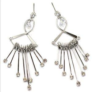Noble pendant fan crystal silver earrings