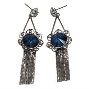 Noble black tassel blue crystal flower earrings