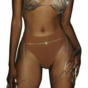 Two Crystal Thigh Body Chains