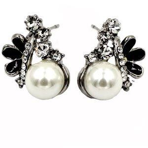 Lovely pearl crystal silver earrings