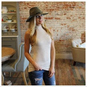 Oatmeal Mock Neck Sleeveless Top