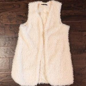 Maurice's Plus Size Cream Faux Fur Vest