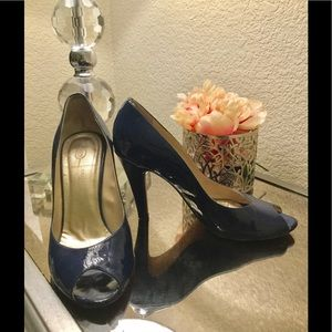 Collection Bebe Blue Patent Leather Peep Toe Shoes